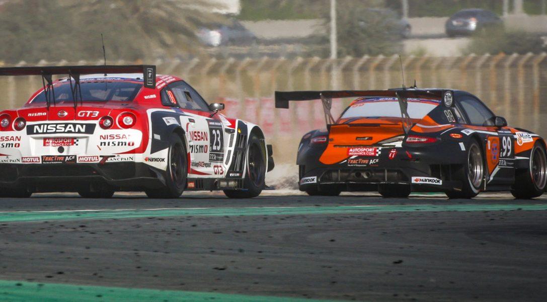 Les vainqueurs de la GT Academy 2014 sur le podium des 24 Heures de Dubai