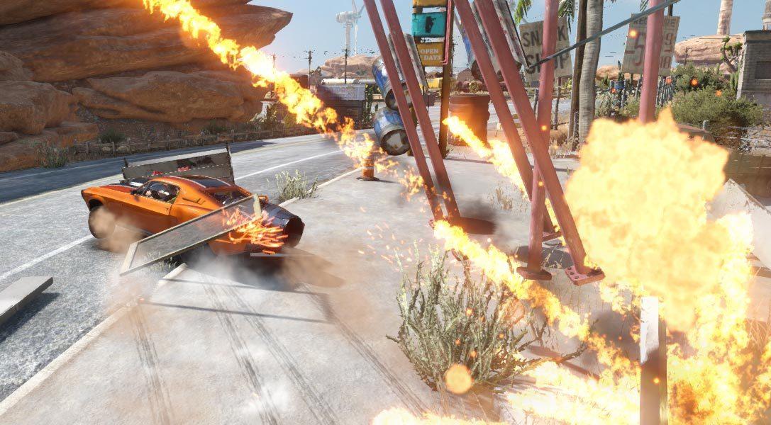 Le désert, décor parfait pour le retour de FlatOut, le jeu de course en arcade déchaîné sur PS4