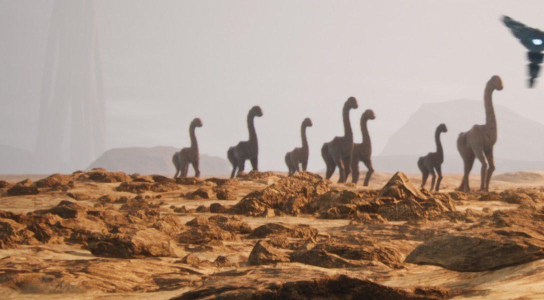 Survivez un monde rempli d'étranges créatures dans Eden-Tomorrow, sur PS VR.