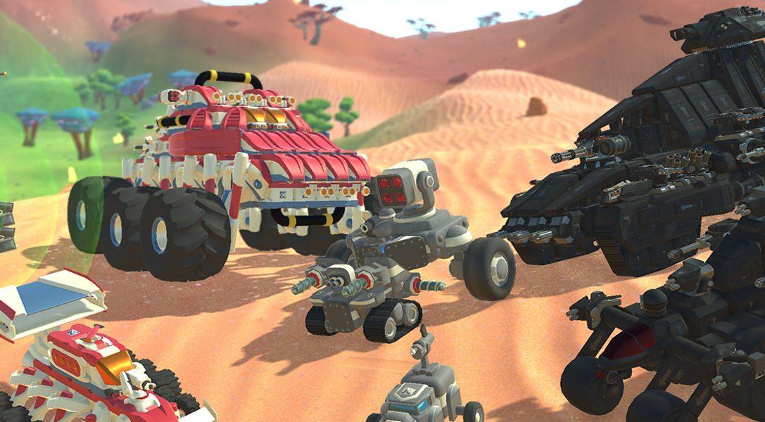 Construisez des voitures, des avions et bien d'autres véhicules pour affronter vos amis sur TerraTech, disponible le 14 août sur PS4
