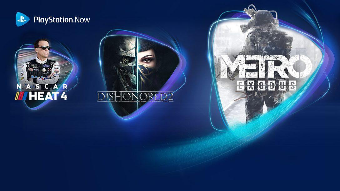 Metro Exodus, Dishonored 2 et NASCAR 4 débarquent sur PS Now en juin