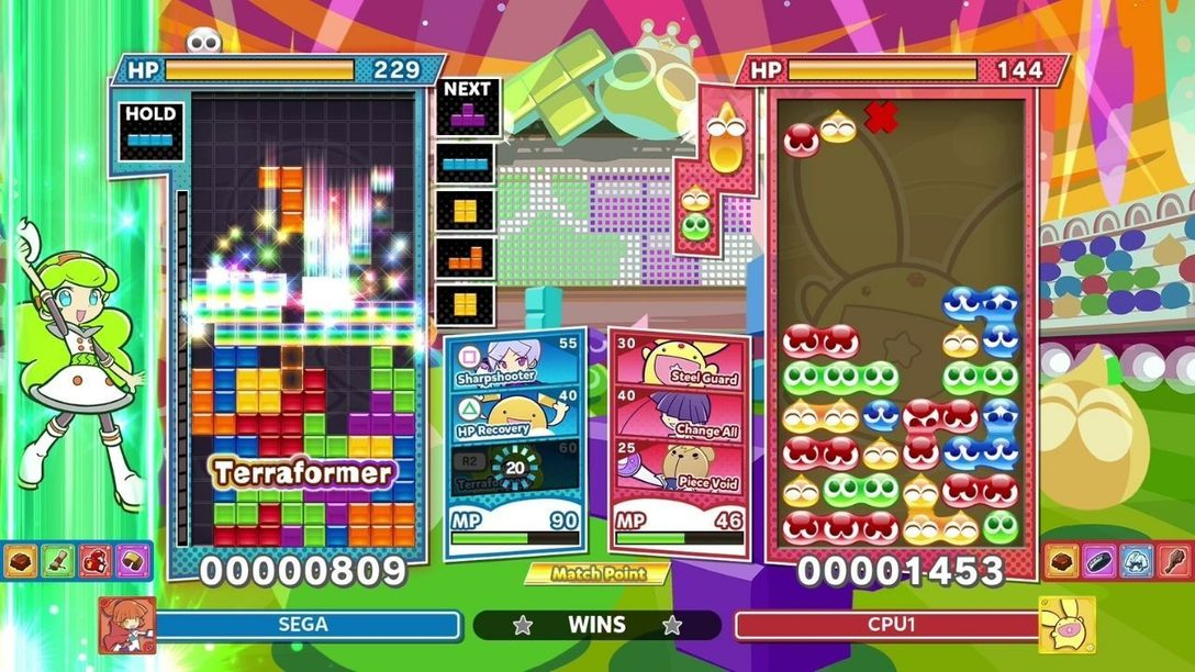 Plongez dans le mode Skill Battle (Combat de compétences) de Puyo Puyo Tetris 2