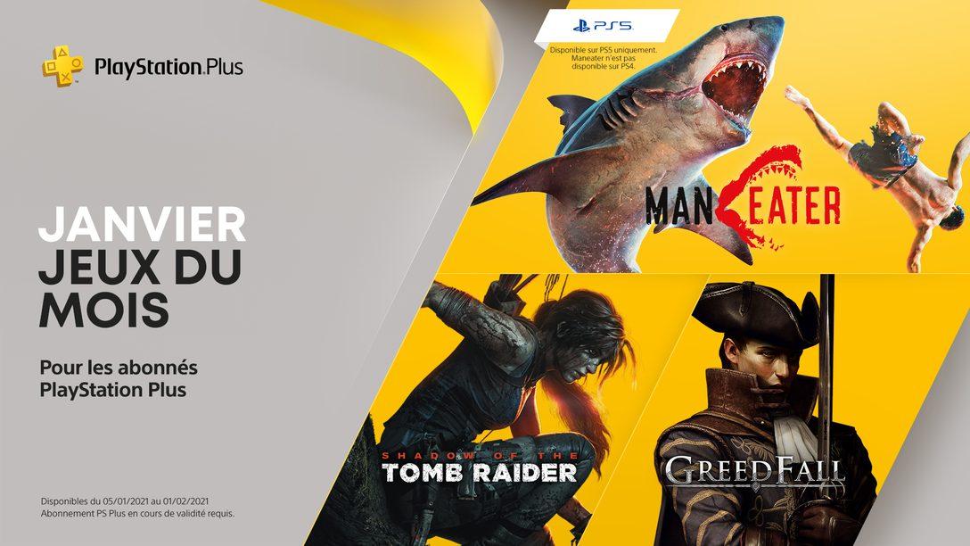 Les jeux PlayStation Plus du mois de janvier : Maneater, Shadow of the Tomb Raider et Greedfall