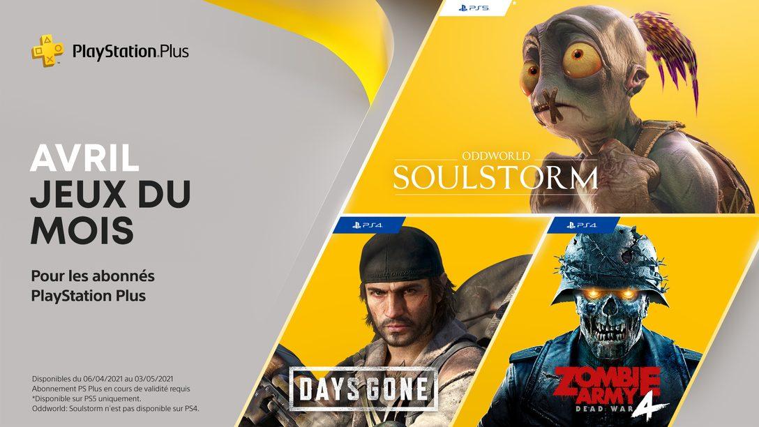 Les jeux PlayStation Plus du mois d'avril : Days Gone, Oddworld: Soulstorm et Zombie Army 4: Dead War